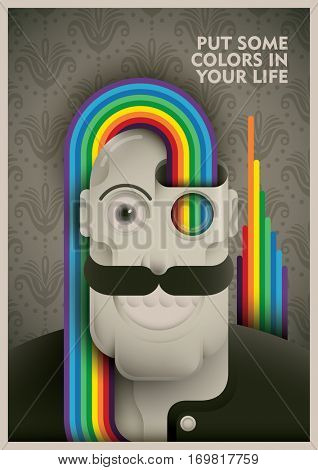 Conceptual vintage illustration with comic character, rainbow and slogan. Vector illustration.