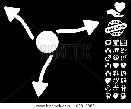 Curve Arrows pictograph with bonus lovely graphic icons. Vector illustration style is flat rounded iconic white symbols on black background.
