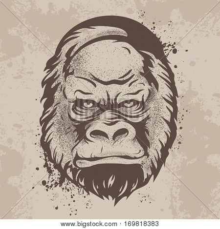 Vector illustration, graphic print, silhouette snout gorillas, monkeys in retro style on a background of ink stains and ink