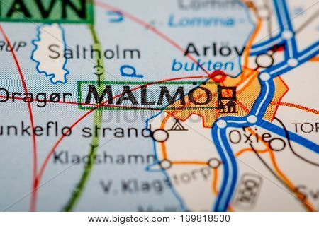 Malmo City On A Road Map