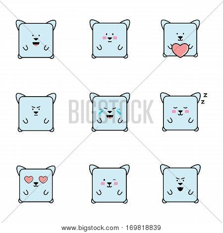 Set of cat emoticons, isolated on white background, animal designed with different emotions, cute kitten emoji.