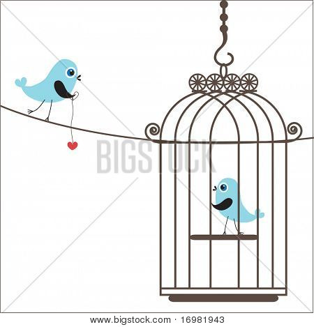 Birds couple in love. Vector background.