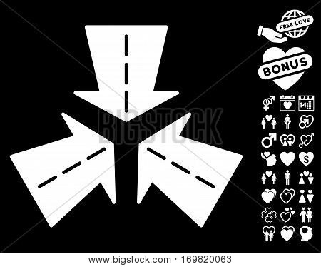 Merge Directions pictograph with bonus passion pictures. Vector illustration style is flat rounded iconic white symbols on black background.