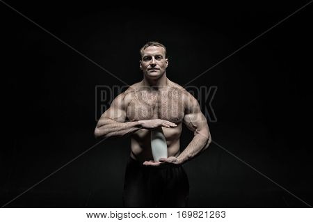 Handsome Sexy Athlete Man With Muscular Body Holds Drink Bottle