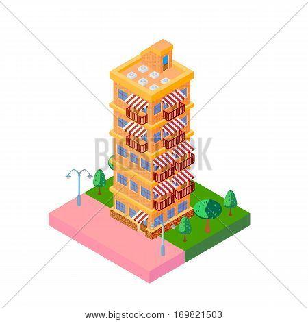 bright vector icon isometric orange multi story house