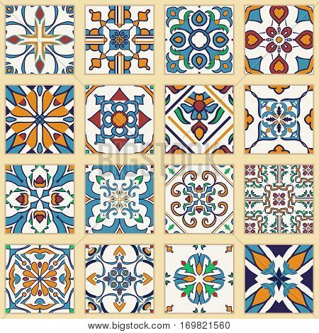 Vector set of Portuguese tiles. Collection of colored patterns for design and fashion. Azulejo,Talavera, Spanish, Moroccan ornaments