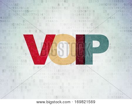 Web development concept: Painted multicolor text VOIP on Digital Data Paper background