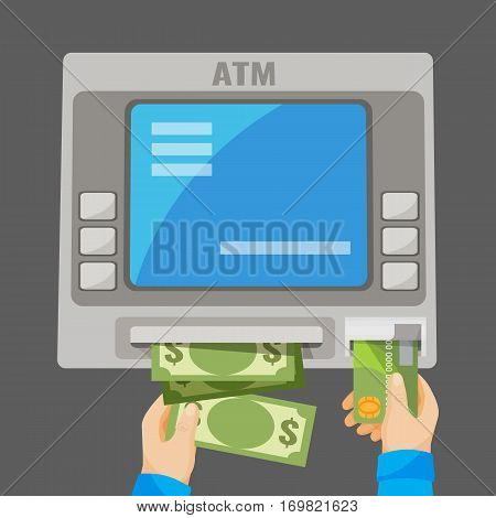Hand inserting green credit card into grey ATM and withdrawing money. Process of getting cash using plastic card and bank special machine. Vector illustration of banking financial operation