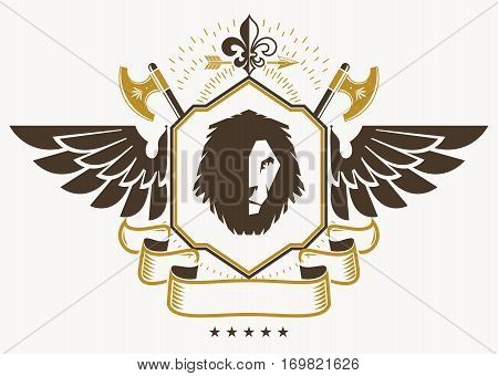 Vintage decorative heraldic vector emblem composed using eagle wings wild lion illustration and hatchets