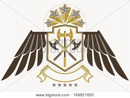 Vintage decorative heraldic vector emblem composed using eagle wings hatchets and pentagonal stars