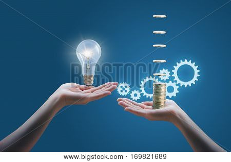 Hand Holds Money, Hand Holds Light Bulb. Buy Idea, Investing In Innovation, Modern Technology Busine