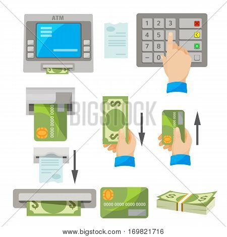 ATM usage concept vector set. Human hand pushing buttons, indications of inserting of credit card and getting money by hand, pack of dollars, white check, banking machine giving money and check