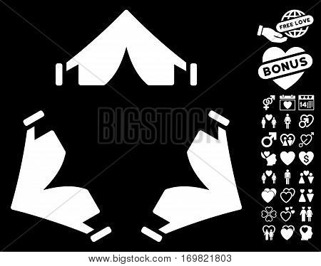 Tent Camp pictograph with bonus romantic clip art. Vector illustration style is flat rounded iconic white symbols on black background.