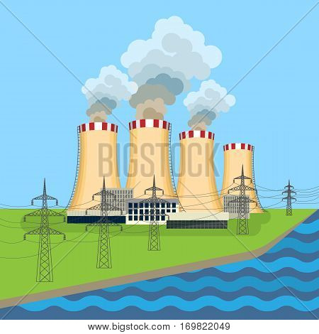Working nuclear power plant near set of connected towers along flowing blue. Vector illustration of dangerous for environment and people anatomic nuclear reactors building complex with steam.