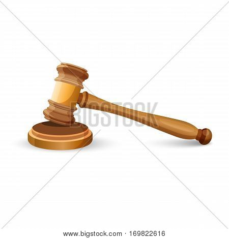 Auction wooden hammer on stand isolated on white. Element for auctions that helps to sell things by hitting the stand. Vector realistic illustration of gavel decision-making symbol in flat style