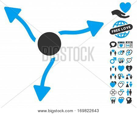 Curve Arrows pictograph with bonus lovely pictures. Vector illustration style is flat rounded iconic blue and gray symbols on white background.