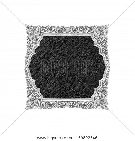 Blank black stone sign plate isolated on white background