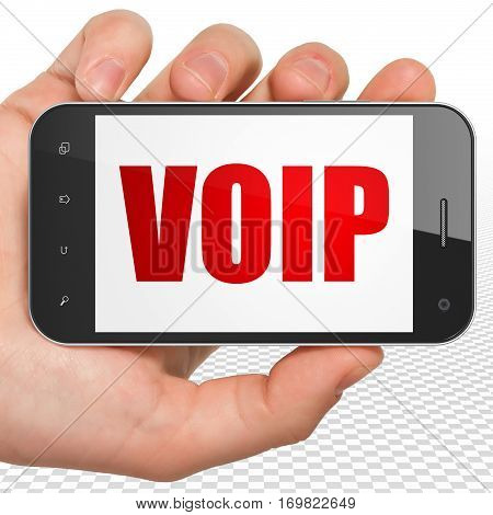 Web design concept: Hand Holding Smartphone with red text VOIP on display, 3D rendering