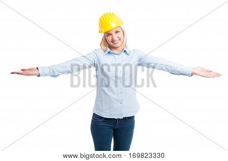 Lady Architect Wearing Protection Helmet Posing With Arms Open