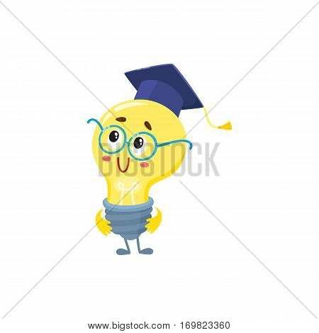 Cute light bulb character with funny face, wearing nerd round glasses and graduation cap, cartoon vector illustration isolated on white background. Funny light bulb clever character in glasses