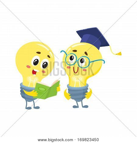 Two cute light bulb characters, one wearing nerd round glasses and graduation cap, another reading a book, cartoon vector illustration isolated on white background. Two funny light bulb characters