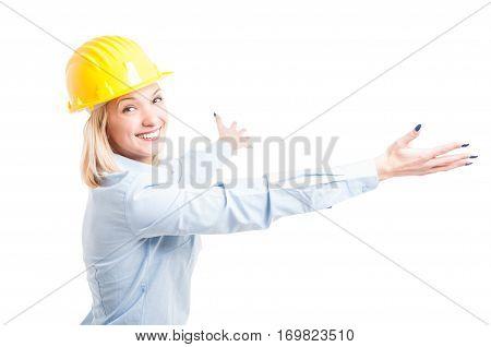 Lady Engineer Wearing Helmet Posing With Arms Open