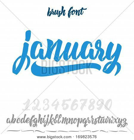 Font drawn on the basis of handwriting calligraphy, modern cursive script brush. Hand Lettering January