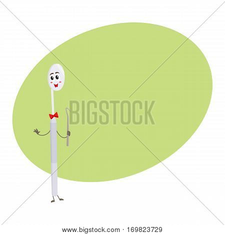 Cute and funny dental mirror character holding sickle explorer, cartoon vector illustration isolated on white background. Dental mirror funny character, teeth hygiene, dental care for children concept