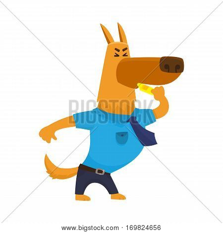 Funny shepherd dog character in blue police uniform blowing a whistle, cartoon vector illustration isolated on white background. Police dog character blowing a whistle