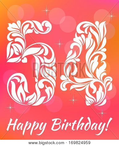 Bright Greeting Card Template. Celebrating 54 Years Birthday. De