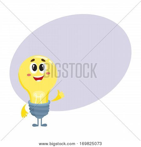 Cute light bulb character with funny face, showing thumb up cartoon vector illustration isolated on white background with place for text. Funny light bulb character standing with thumb up
