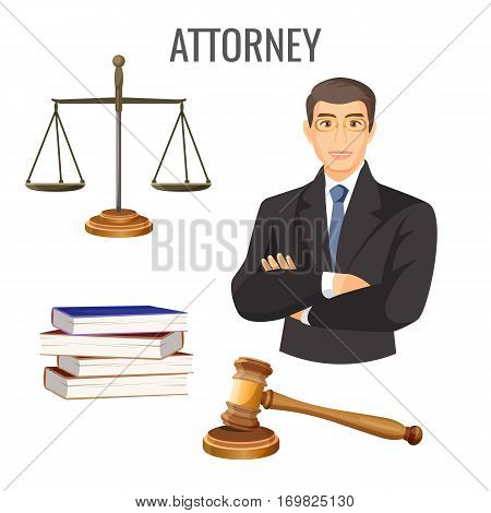 Attorney in glasses and black suit with crossed hands on chest near sign of judge scales, wooden gavel and pile of books on white. Vector illustration of lawyer that legally defense people rights