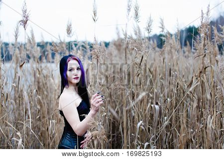 Portrait of the gothic woman in a high, dry grass