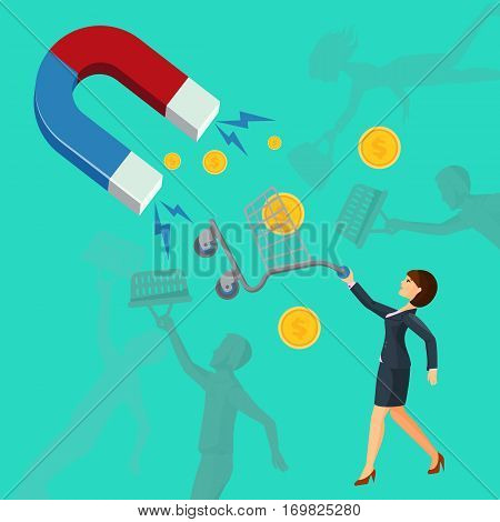 Magnet attracts money and woman that holds cart for supermarkets and other silhouettes on green background. Attracting vector investments concept. Business idea how to lure new clients and earn money