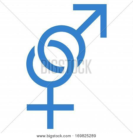 Sex Symbol flat icon. Vector cobalt symbol. Pictogram is isolated on a white background. Trendy flat style illustration for web site design, logo, ads, apps, user interface.