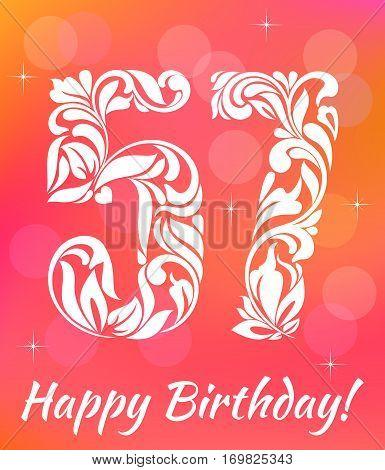 Bright Greeting Card Template. Celebrating 57 Years Birthday. De