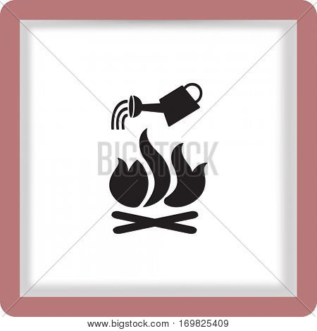 Flat icon. He lit the fire. Water pouring from a watering can on the fire. Fire fighting.