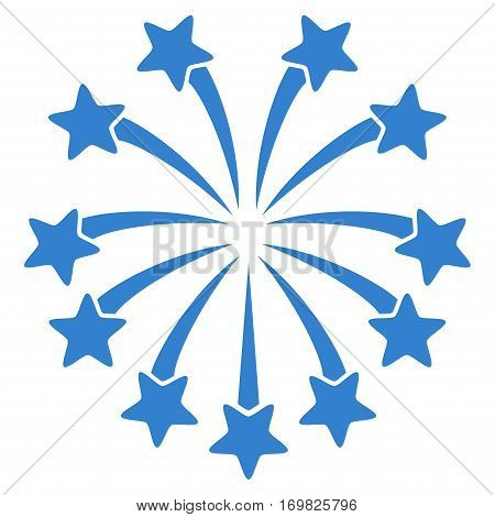 Spherical Fireworks flat icon. Vector cobalt symbol. Pictogram is isolated on a white background. Trendy flat style illustration for web site design, logo, ads, apps, user interface.