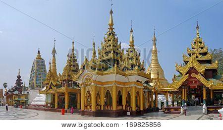 Shwedagon Paya pagoda Myanmer famous sacred place and tourist attraction landmark, Yangon, Myanmar