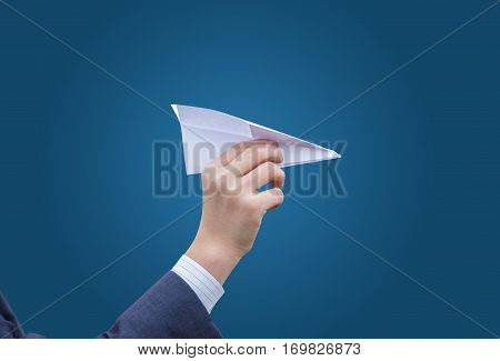 Business Man Throws A Paper Plane. Concept Of Transfer Of Communication Message