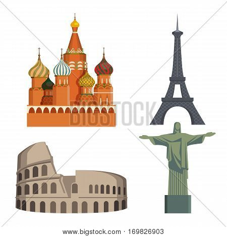 Worlds attraction of famous cities on white. Kremlin, Eiffel tower, Italian Coliseum and statue of Christ in Brasil. Vector poster of colourful well known sightseeings around the world in flat style