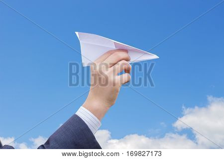 Throwing A Paper Plane. Freedom, Success Business Concepts.