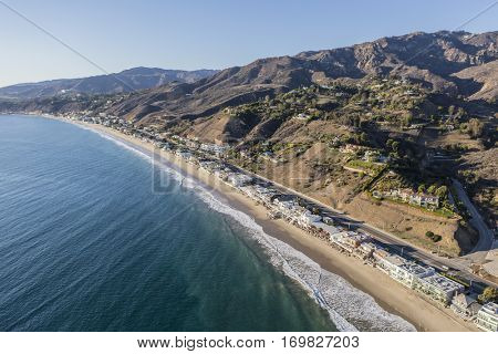 Aerial of beach houses along Pacific Coast Highway in the Malibu area of Los Angeles County.