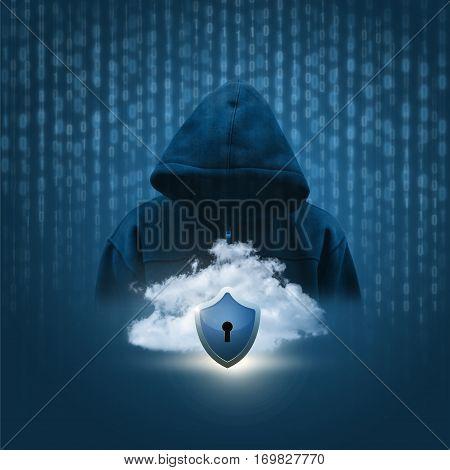secure data cloud concept design illustration banner