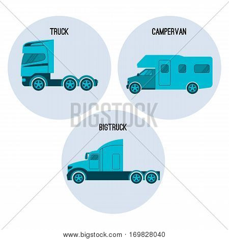 Truck or lorry motor vehicle designed to transport cargo. Campervan, camper, or caravanette, self-propelled vehicle provides both transport and sleeping accommodation. Big truck vector illustration