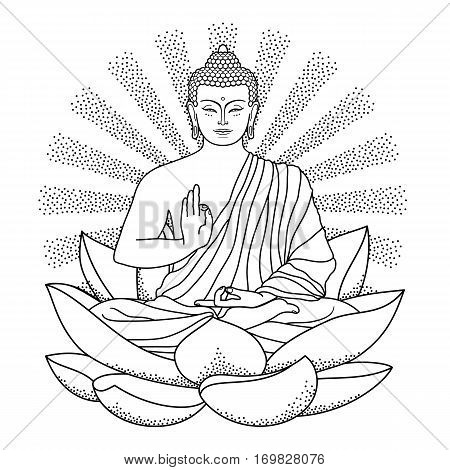 Sitting Buddha on Lotus with beam of light isolated on white background. Sign for tattoo, textile print, mascots and amulets.
