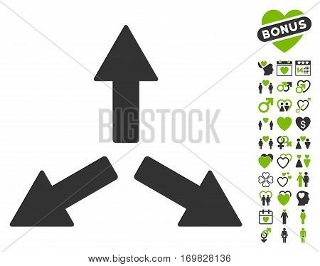 Expand Arrows icon with bonus love graphic icons. Vector illustration style is flat rounded iconic eco green and gray symbols on white background.