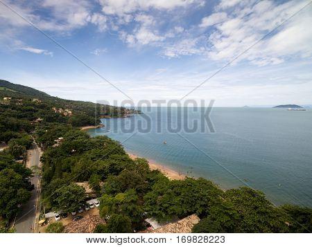 Aerial View of Praia do Curral (Curral Beach) in Ilhabela, Sao Paulo, Brazil