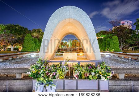 HIROSHIMA, JAPAN - DECEMBER 5, 2012: The Cenotaph Memorial at Hiroshima Peace Memorial Park.