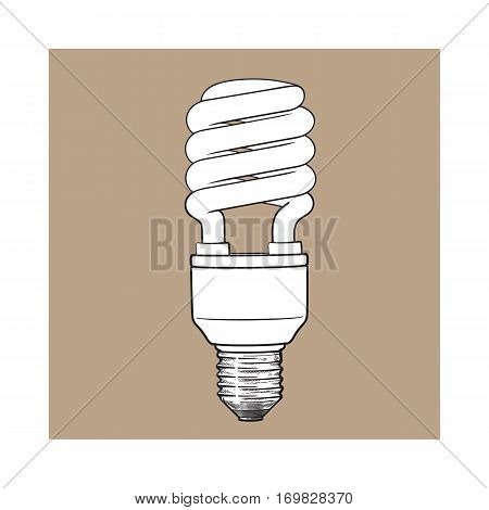 Fluorescent, energy saving, spiral light bulb, side view, sketch style vector illustration isolated on brown background. Realistic hand drawing of spiral fluorescent light bulb, energy saving concept